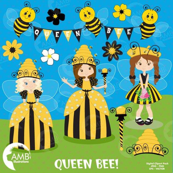 Queen bee fairy princess. Fairies clipart banner