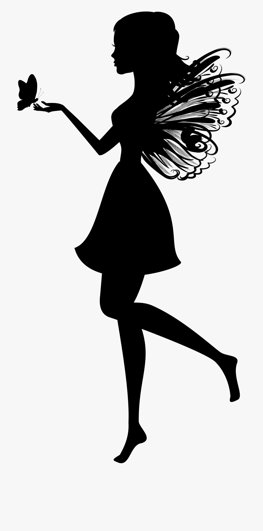 Fairy silhouette png clip. Fairies clipart butterfly