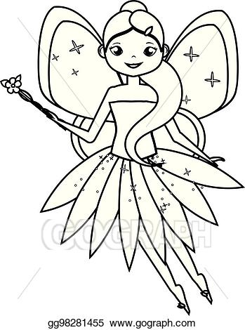 Eps illustration coloring page. Fairies clipart childrens