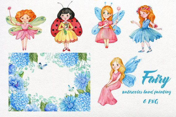Fairies clipart childrens. Fairy girl graphics watercolor
