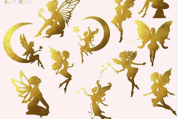 Gold foil images n. Fairies clipart fairy tale