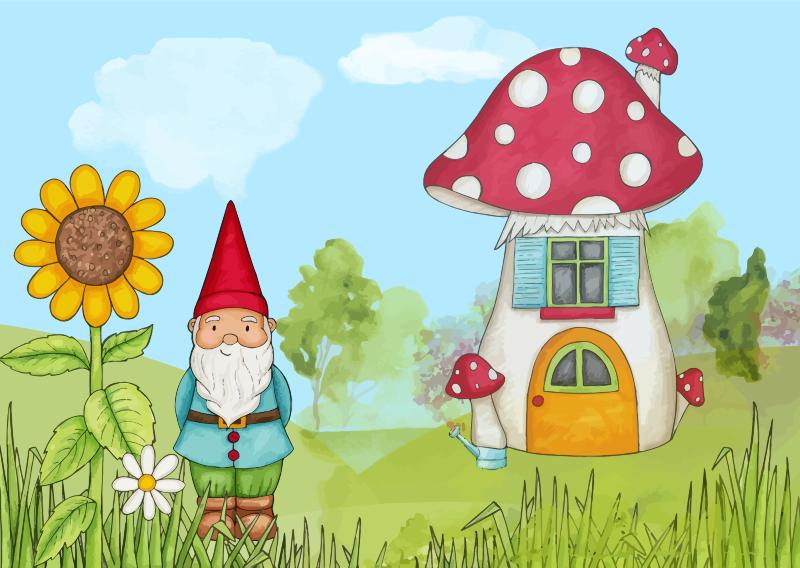 Gnome clipart lawn. Peaceful landscape medium image