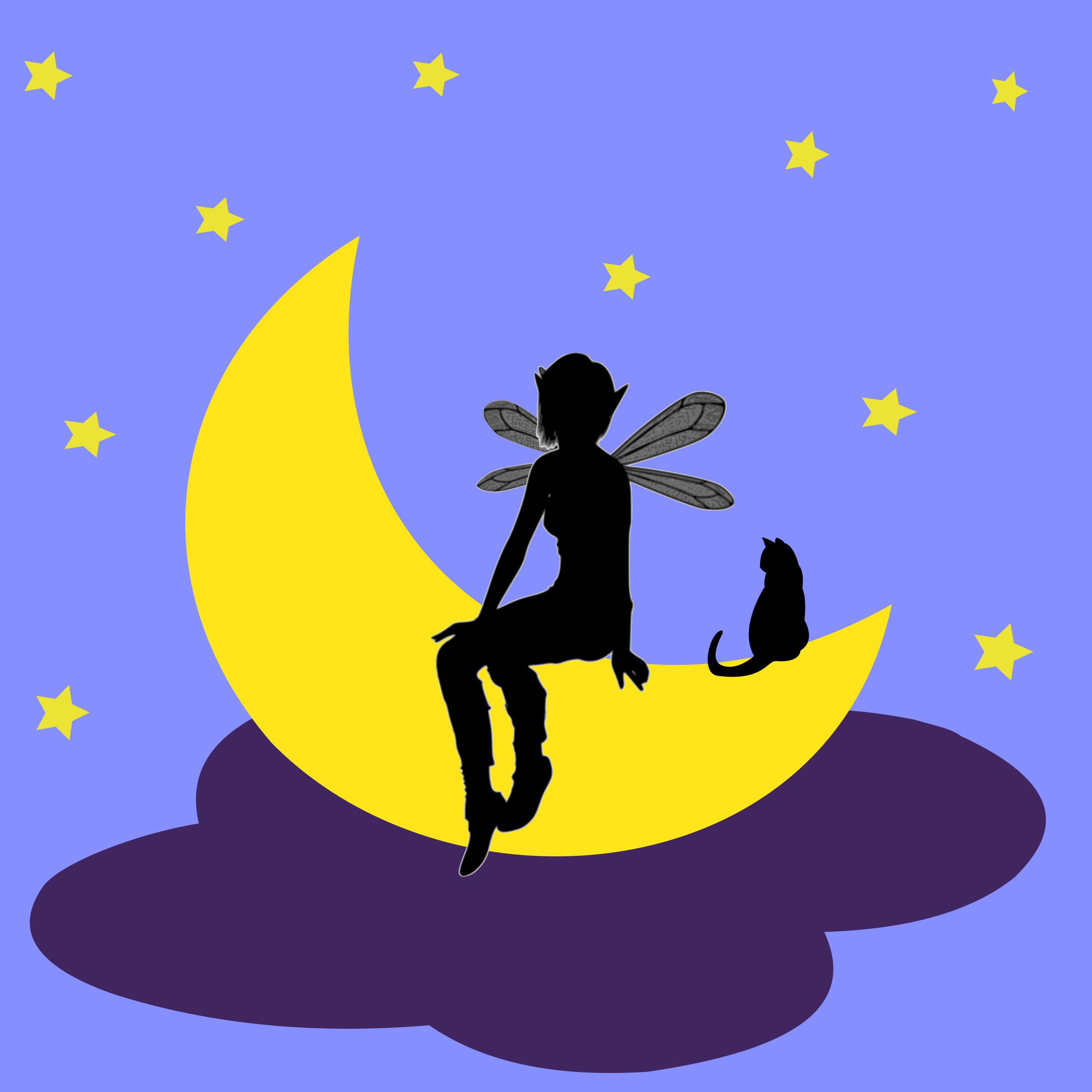 On the big image. Fairy clipart moon