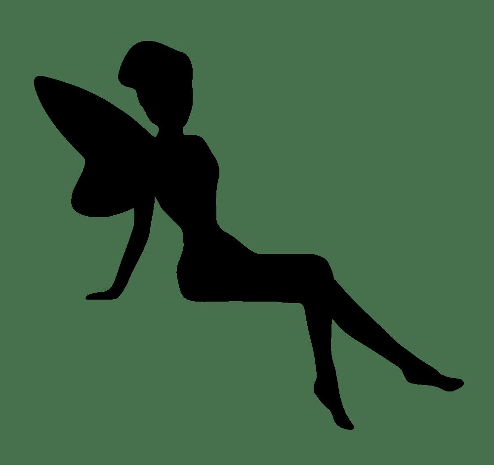 Fairies clipart outline. Fairy sitting silhouette rooweb