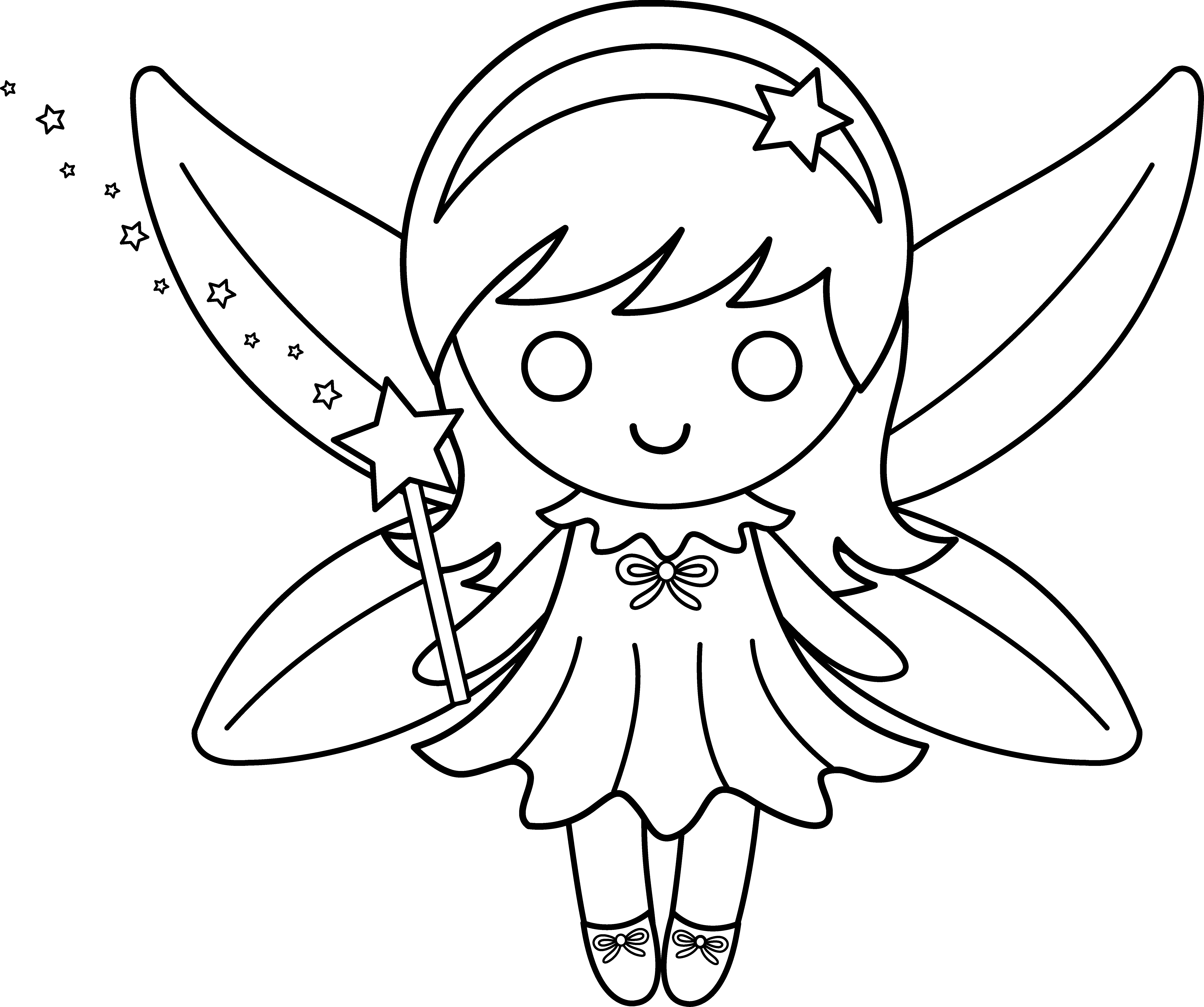 Black and white drawing. Fairies clipart outline