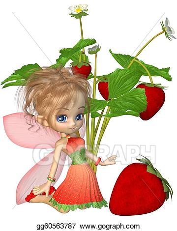 Drawing cute toon strawberry. Strawberries clipart fairy