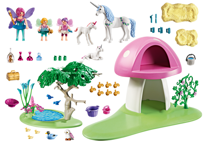 Playmobil fairies with house. Fairy clipart toadstool