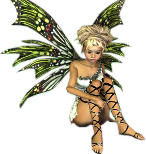 Fantasy blonde sitting green. Fairy clipart pixies