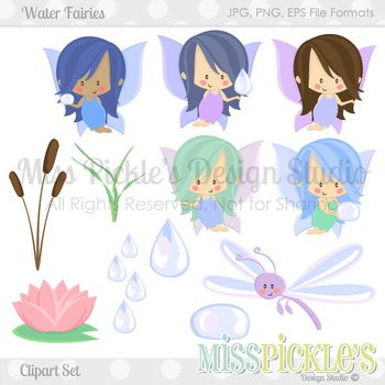 Commercial use set . Fairies clipart water