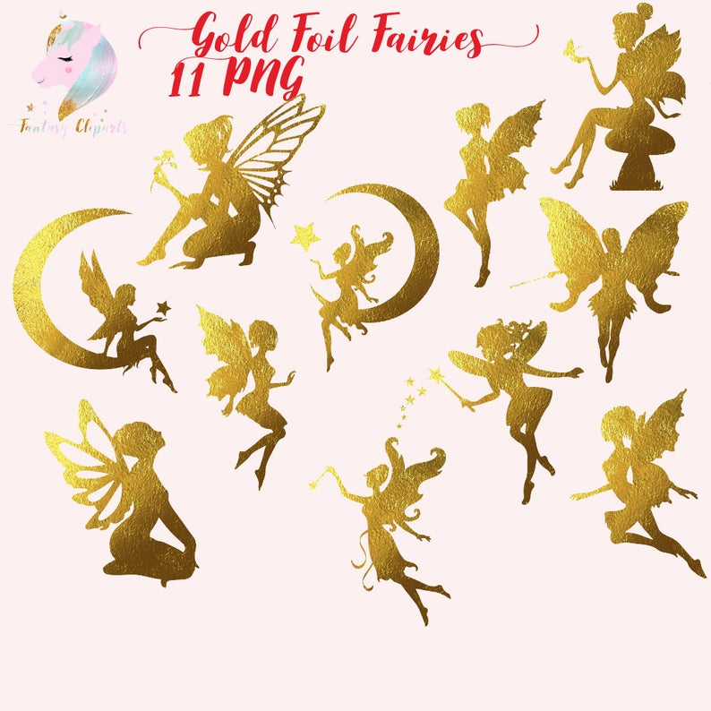 Gold foil fairies clip. Fairy clipart body