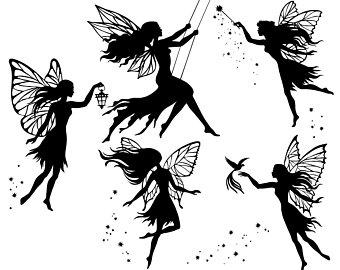 Fairy clipart. Etsy svg silhouette fairies