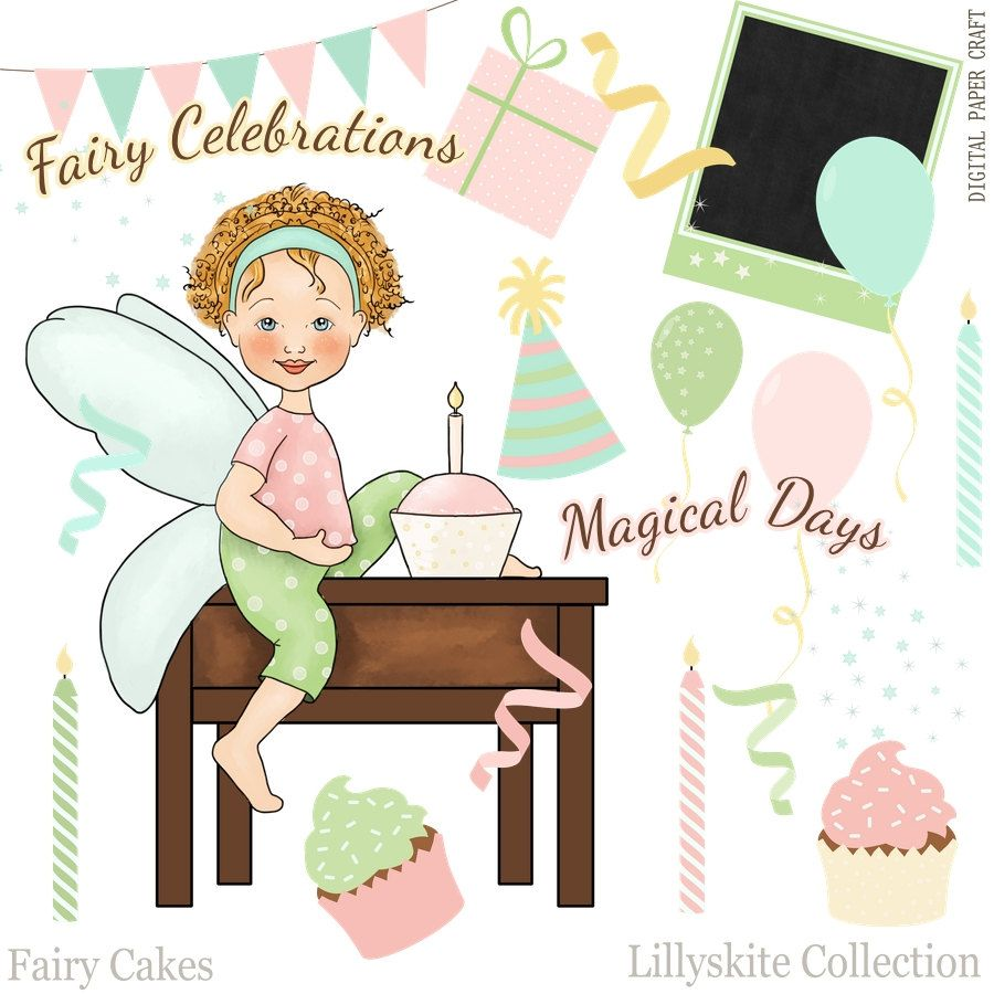 Fairy clipart childrens. Birthday and party instant