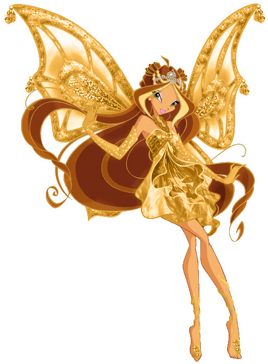 Fairy clipart clothes. Flora gold enchantix png