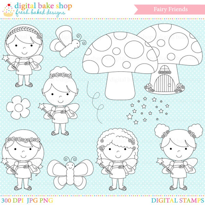 Fairy clipart face. Digital stamps fairies clip