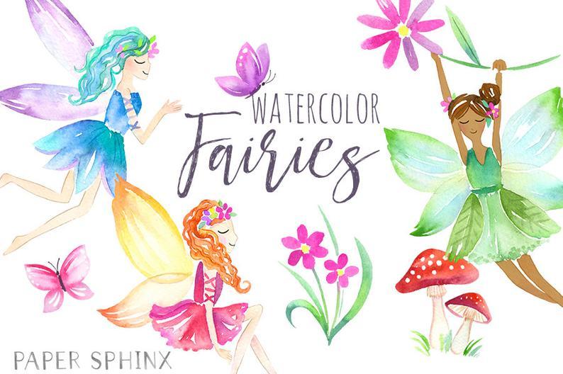 Watercolor fairies fantasy girls. Fairy clipart flower fairy