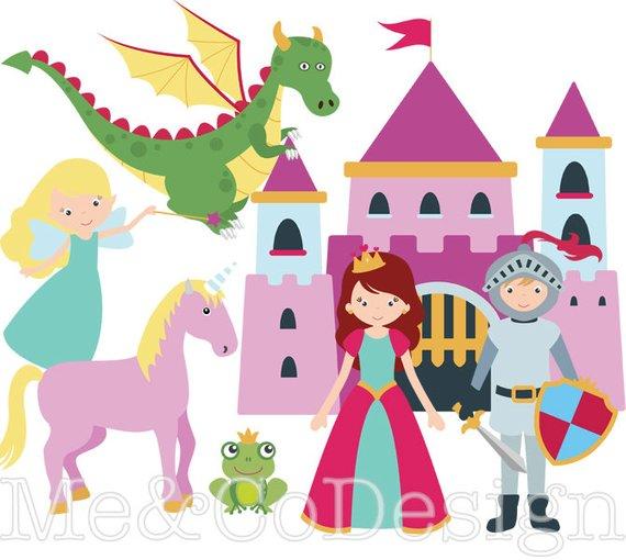 Fairy tale fun cute. Knights clipart princess