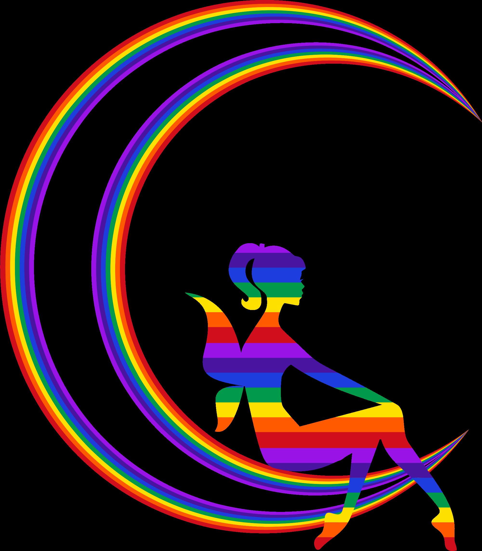Rainbow relaxing on the. Fairy clipart moon