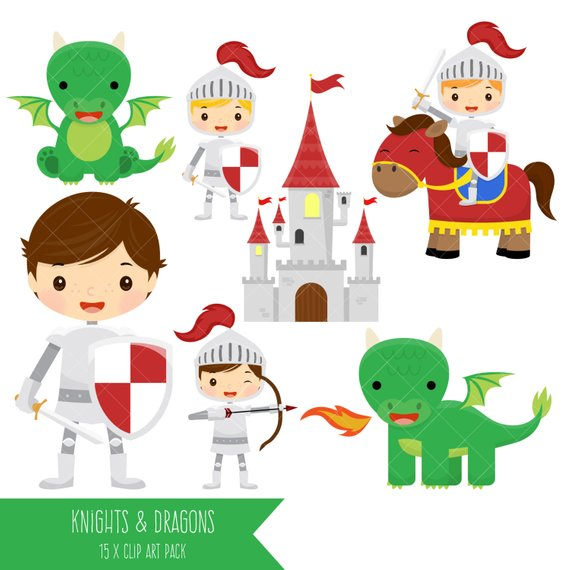 Fairytale clipart. Knights and dragons cute