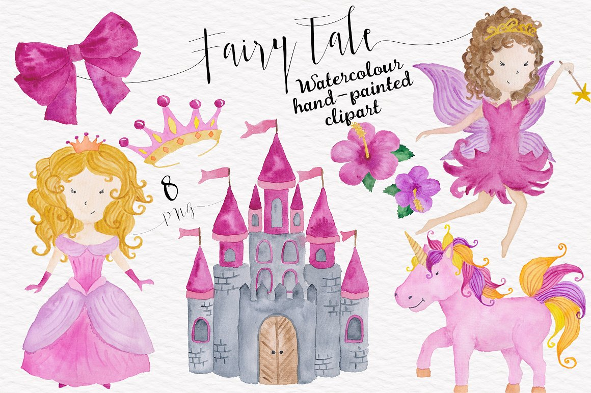 Baby girl pink watercolor. Fairytale clipart