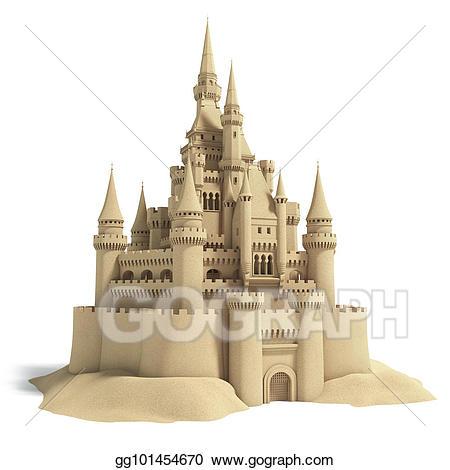 Fairytale clipart 3d castle. Sand isolated on white