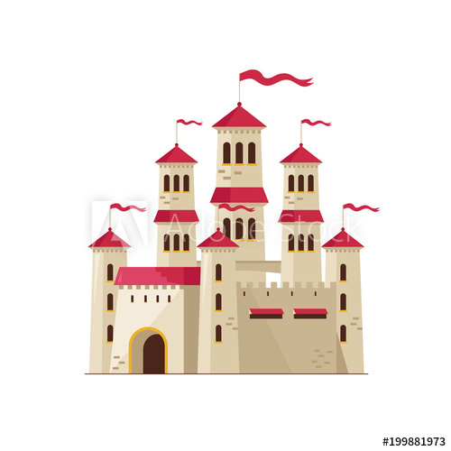 Fairytale clipart beautiful castle. Flat design of from