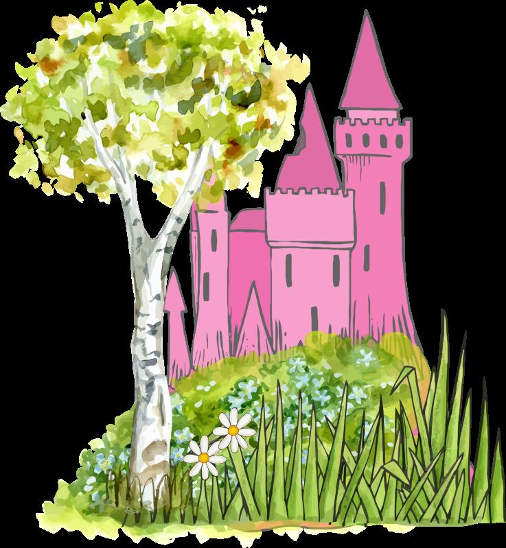 Fairytale castle medium image. Grass clipart watercolor