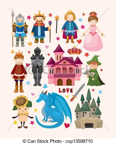 Fairytale clipart camelot. Vector set of fairy