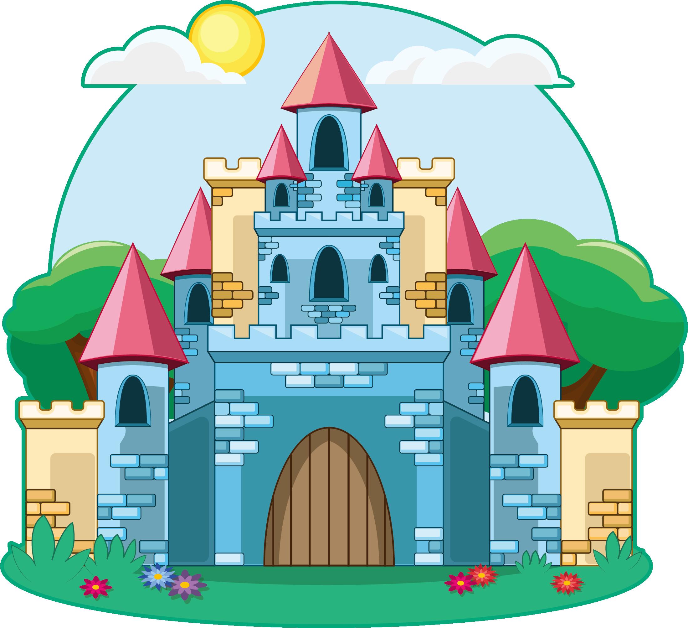 Castle cartoon drawing illustration. Fairytale clipart casle