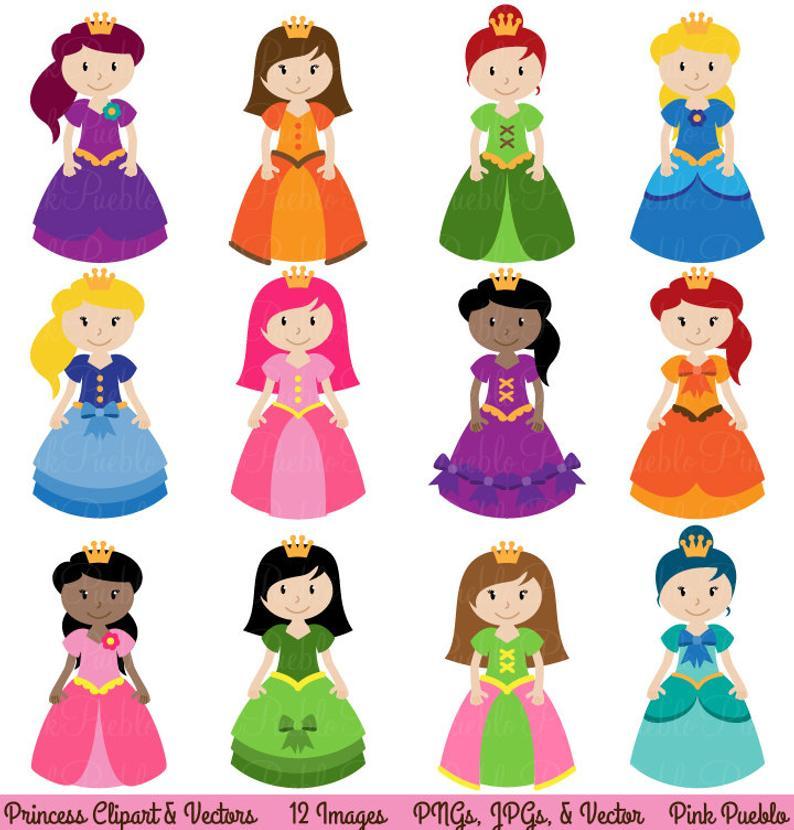 Princess vectors commercial and. Fairytale clipart clip art