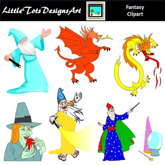 Fairytale clipart clip art. Fantasy wizards dragons commercial