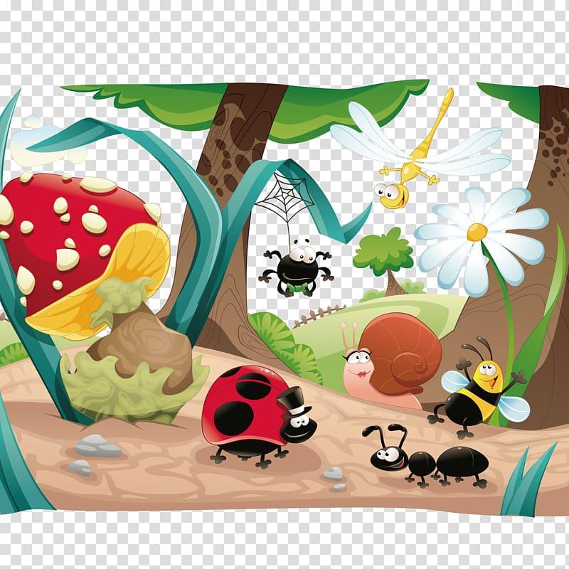 Fairytale clipart fairytale scene. Insect cartoon fairy tale