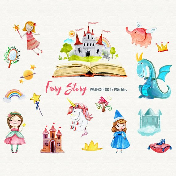 Fairytale clipart fantasy story. Fairy unicorn princess watercolor