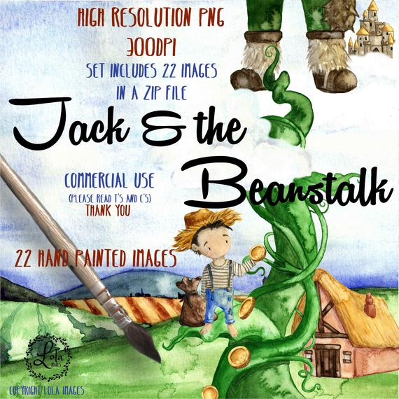 Jack and the beanstalk. Fairytale clipart fiction book