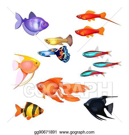 Vector illustration set of. Fairytale clipart fish
