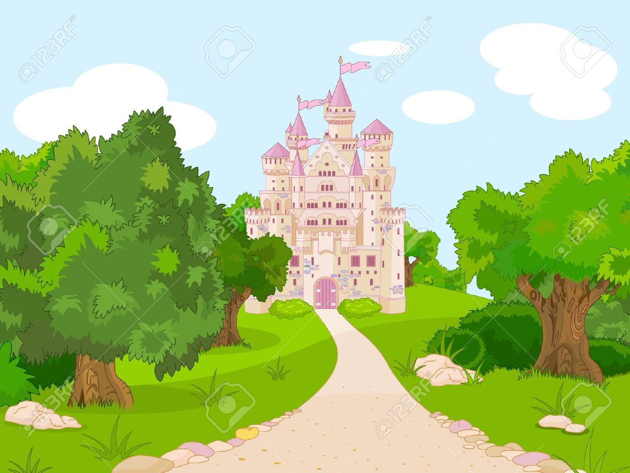 Stock vector illustration . Landscape clipart castle