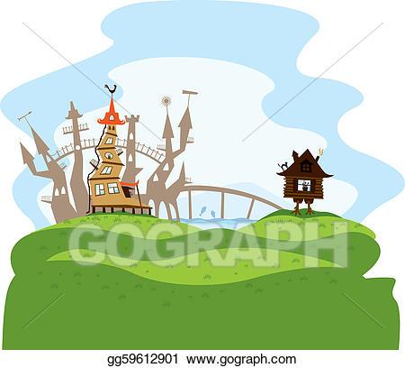 Eps vector city stock. Fairytale clipart hill
