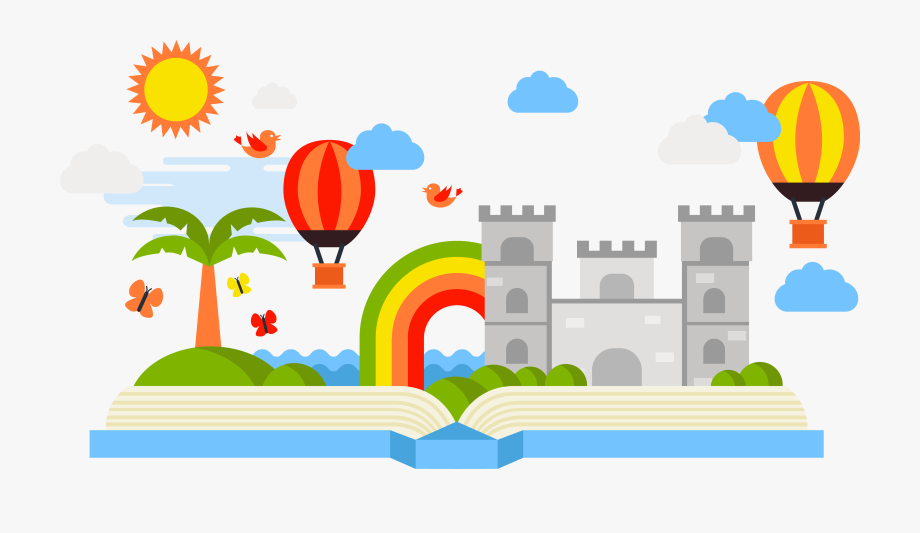 Fairytale clipart hill. Book storytelling fairy tale