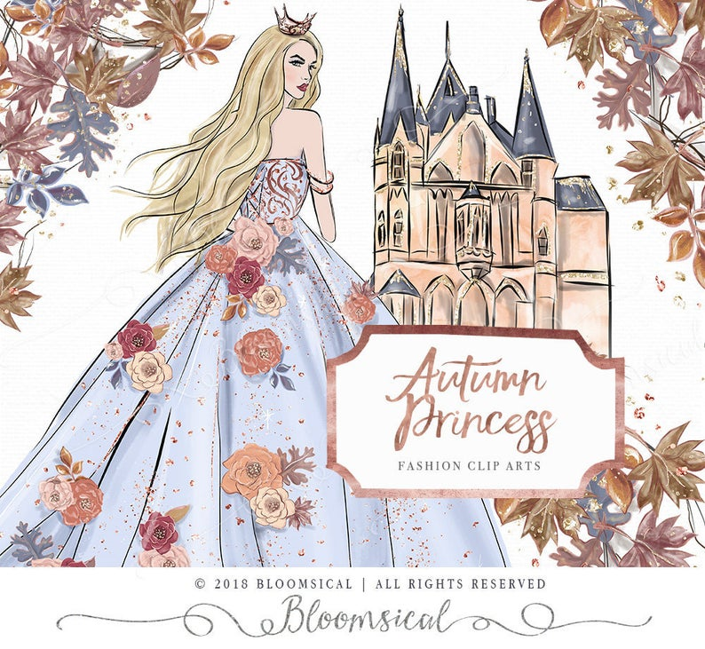 Fairytale clipart illustration. Autumn princess clip art