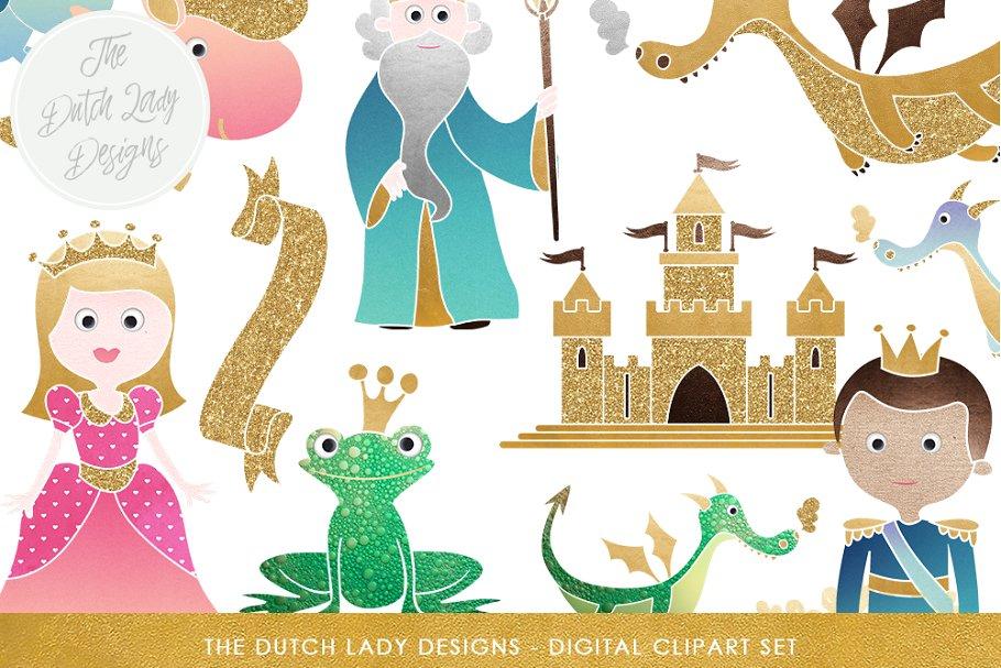 Fantasy set illustrations creative. Fairytale clipart illustration