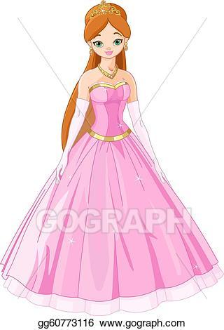 Fairytale clipart illustration. Eps vector princess stock
