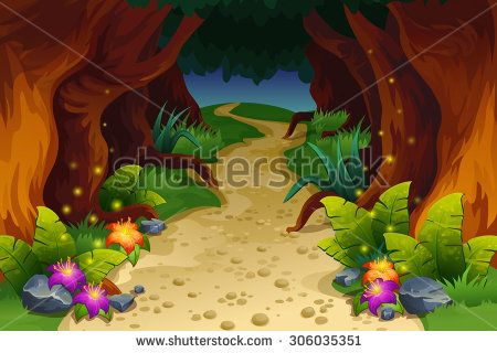Fairytale clipart landscape. Illustration of fairy forest