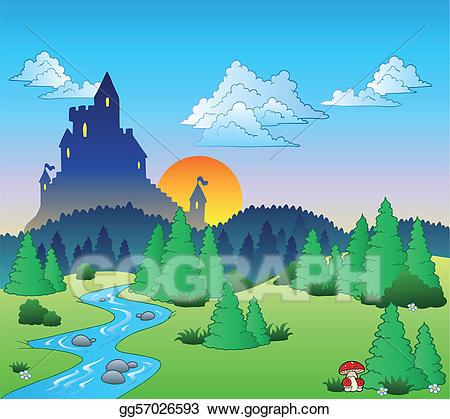 Vector art fairy tale. Fairytale clipart landscape