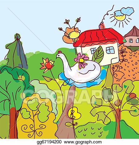 Vector art kid drawing. Fairytale clipart landscape