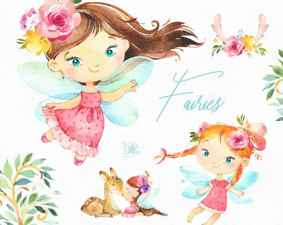 Fairies watercolor magic girls. Fairytale clipart little girl
