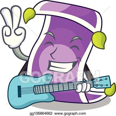 Eps vector with guitar. Fairytale clipart magic