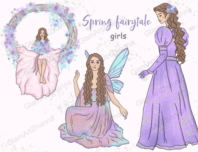 Spring princess clip art. Fairytale clipart magic