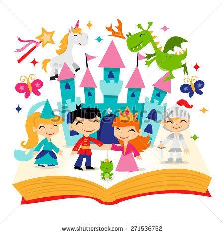 A cartoon vector illustration. Fairytale clipart magic book