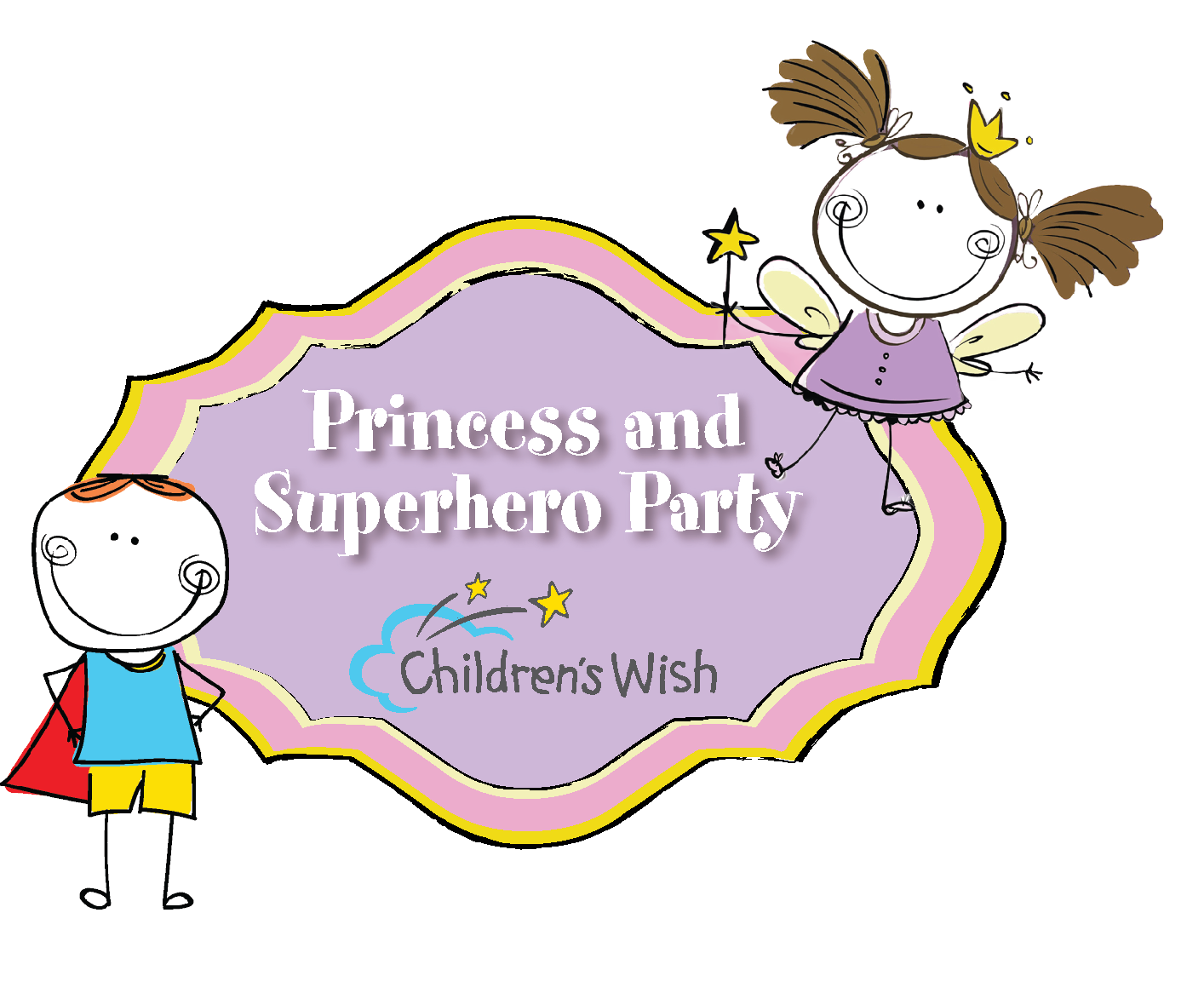 Fairytale clipart make believe. Princess and superhero party