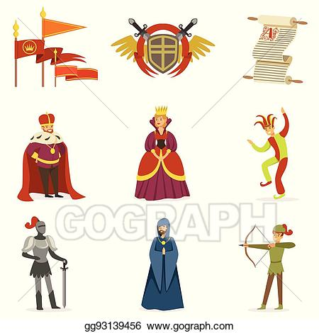 Vector art cartoon characters. Fairytale clipart medieval period