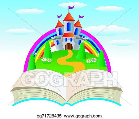 Vector art open book. Palace clipart fairy tale castle
